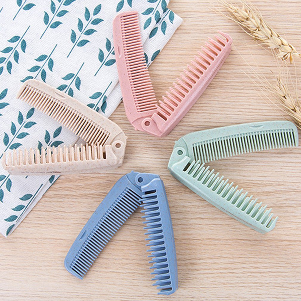 Portable dual-purp Pocket Candy Color Salon Hairdressing Anti-static Plastic Comb Coarse & Fine Tooth Folding Hair Brush