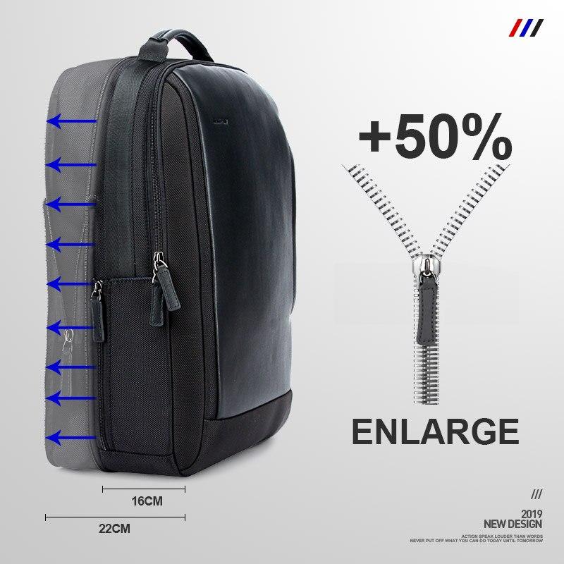 BOPAI Marque Agrandir Sac À Dos USB Externe Charge 15.6 Pouces sac à dos pour ordinateur portable Épaules Hommes Anti-vol Imperméable sac à dos de voyage - 2
