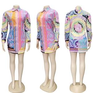 Image 5 - 2 חתיכות סט סקסי סתיו אופנה נשים סט 2021 נשי חולצות פרחוני הדפסה ארוך שרוול חולצה אלסטי מותניים מיני חצאיות