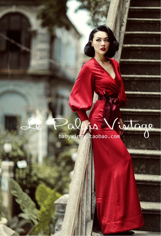 Le Palais winter Vintage limited edition Retro Red Lantern Sleeve self-cultivation wide leg   Jumpsuit