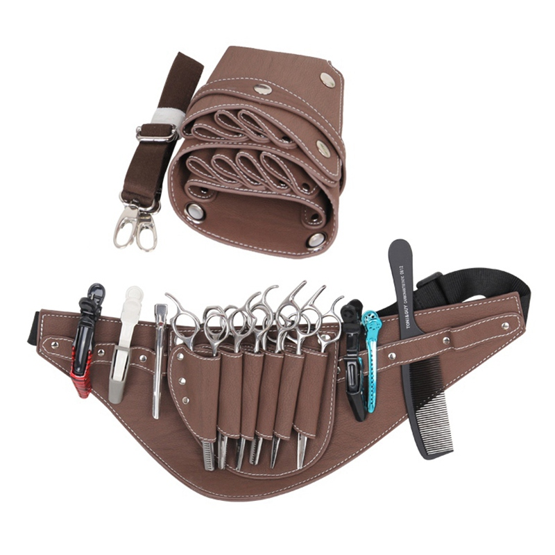 Hot Sale Faux Leather Scissors Bag Hair Scissors Bag Barber Hair Scissor Bag Multifunction Hairstylist Holster Pouch Holder Tool