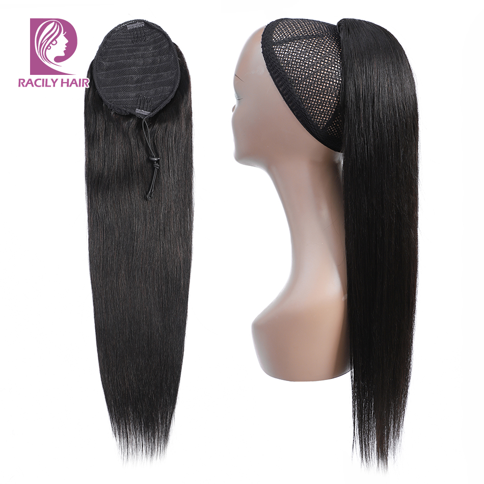 Drawstring Ponytail Hair-Extensions Human-Hair Clip-In Straight Brazilian 10-26inch Remy