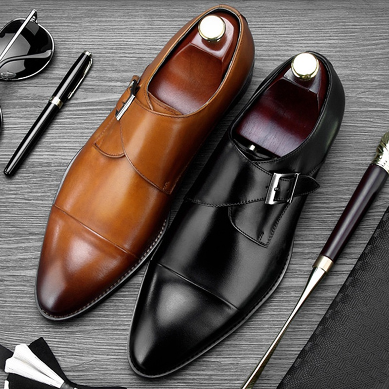 Vintage Round Toe Derby Man Formal Dress Shoes Genuine Leather Handmade Monk Buckle Strap Men's Wedding Party Footwear NE76 luxury snake pattern patent leather men s monk strap formal dress footwear round toe handmade male casual shoes for man ymx411