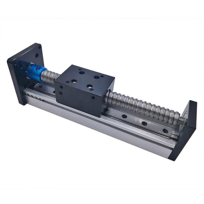 Ход поршня 100 мм нить линейный круглый вал закаленный направляющей модуль для 42 57 шаговый двигатель шариковый винт cnc линейный модуль части ...