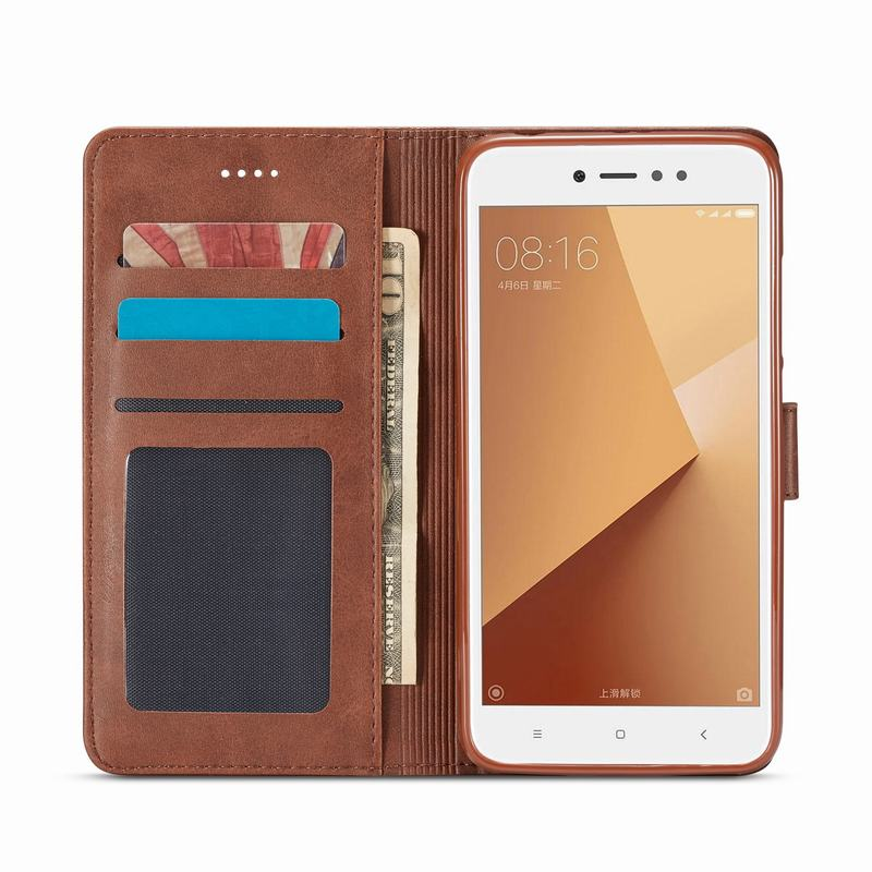 fd985a98ff For Xiaomi Redmi Note 5 Pro 4 4X 4A 5A Case Leather Wallet Flip Cover For  ...