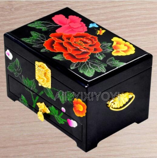 Beautiful 3 Layer Wood Wedding Flower Jewelry Box with Mirror Chinese Retro Womans Dressing Display Box Container Carrying CaseBeautiful 3 Layer Wood Wedding Flower Jewelry Box with Mirror Chinese Retro Womans Dressing Display Box Container Carrying Case