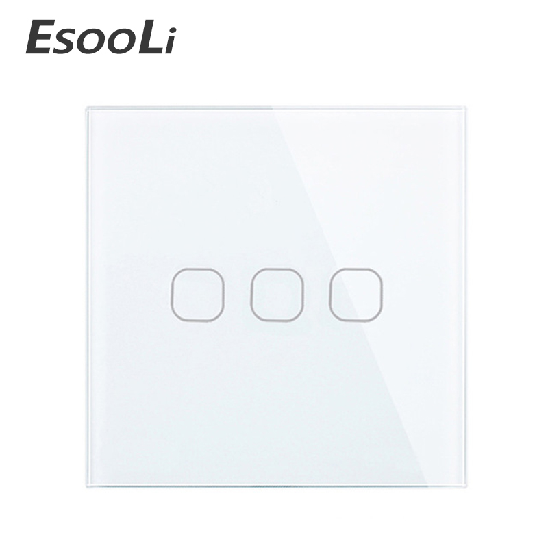 EU/UK standard 1 Gang 1Way Touch Switch White Crystal Glass Panel Touch Switch, AC220V Light Wall Touch Screen Switch Only Touch eu uk standard touch switch 3 gang 1 way wall light touch screen switch crystal glass switch panel popular