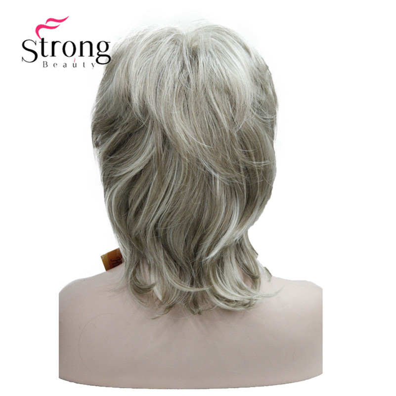 StrongBeauty Short Layered Brown with Blonde Highlighted Classic Cap Full Synthetic Wig Womens Hair Wigs COLOUR CHOICES