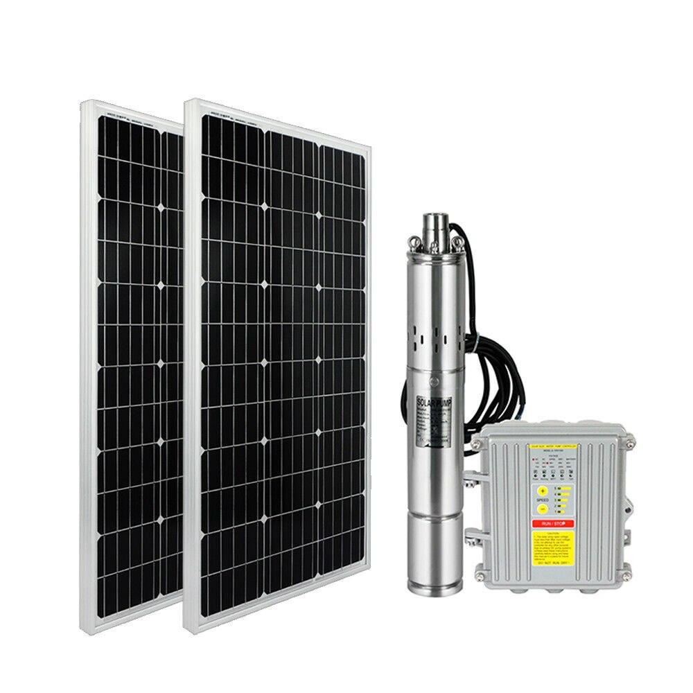 3 ''dc Solar Dompelpomp Goed Water Pomp + 2 Stuks Mono Zonnepaneel + Mppt Controller
