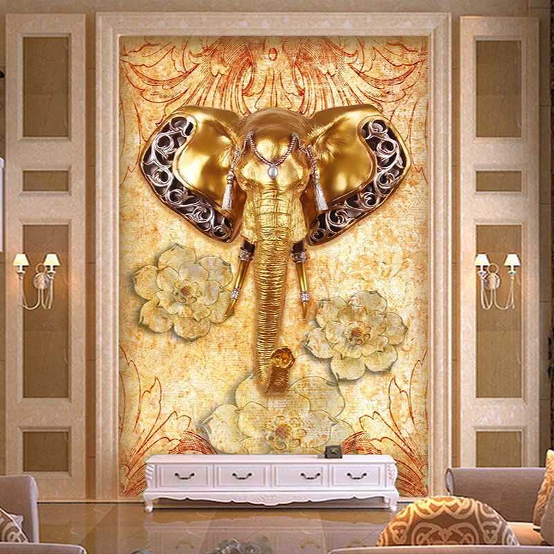 Custom 3D Wallpaper Southeast Asian Style Elephant Entrance Background Wall Decoration Painting Living Room Hall Mural Wallpaper  free shipping southeast asian style elephant mural background wall thickened wear high quality living room bedroom wallpaper