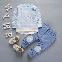 New Children Spring Clothing Boys Girls Autumn Clothes Sets Patchwork Children T Shirt Trousers Baby Wear