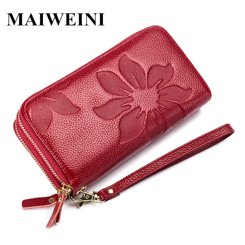 Brand New Women Genuine Leather Wallet Double Zipper Long Wallet Large Capacity Ladies Clutch Wallets Phone Wrist Strap Purse пила sturm 2100201