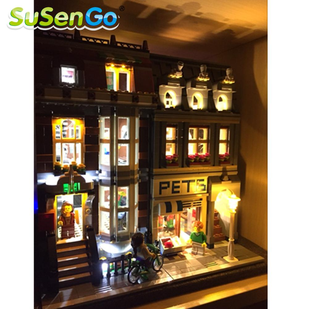 SuSenGo LED Light Kit For Creator Pet Shop Lepin 15009 Compatible With Famous Brand 10218 Building Blocks Toys Decorate Set
