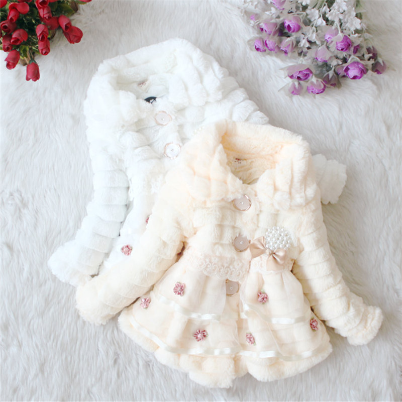 Image 4 - Girls Fur Coat Clothing With Pearl Lace Flower Autumn Winter Wear Clothes Baby Children Faux Fur Dress Dresses Style Jacket 2017-in Jackets & Coats from Mother & Kids