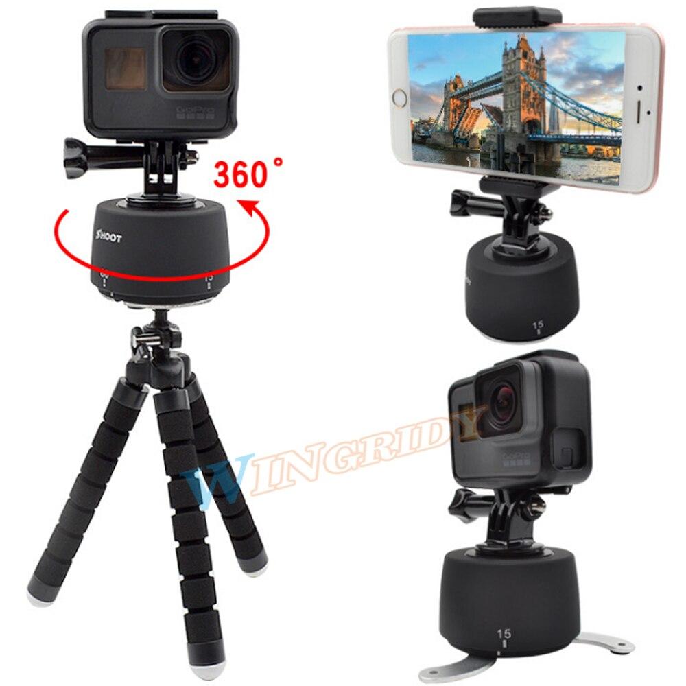 SHOOT 360 Degrees Panning Rotating Time Lapse for GoPro dslr Yi 4K SJCAM Eken Stabilizer Go Pro Tripod Head Set for Phone Hero 5