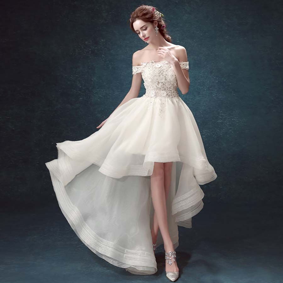 2017 Lace Boat Neck White Wedding Bride Dress Front Short Back Long Elegant Small Tail In Dresses From Weddings Events On