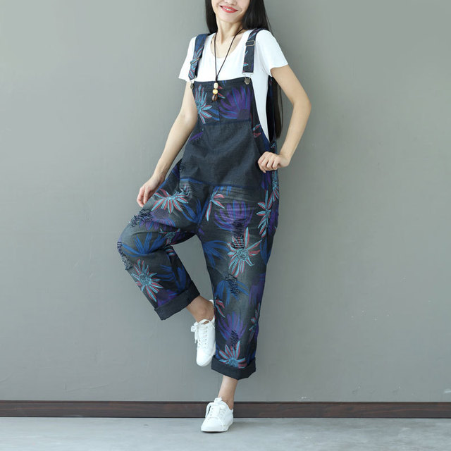 0204c0654f0 Floral Ripped Denim Jumpsuit Women Jumpsuit Romper Print Flower Vintage  Destroyed Loose Casual Jeans Overalls Female Coveralls