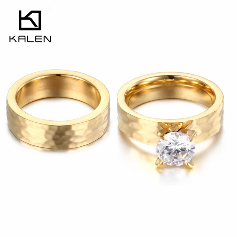 2pcs Stainless Steel Engagement Ring set High Quality Cubic Zirconia Wedding Bands Ring Set Promise Rings For Couples 2017 Kalen