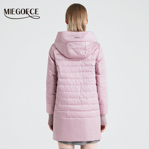 Image 4 - MIEGOFCE 2020 Spring Autumn Jacket With Oblique Cut Bright Womens Jacket Thin Cotton Coat Windproof Warm Knitted Sleeve Jacket