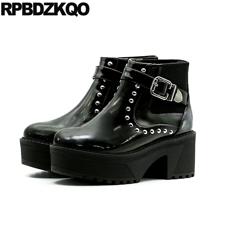 Creepers Gothic Platform Boots Punk Slip On High Heel Shoes Women Metal Patent Leather Designer Black Booties Waterproof Stud muffin wedge high heel stretch women extreme fetish casual knee peep toe platform summer black slip on creepers boots shoes