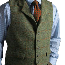 Мужской жилет, зеленый жилет, твидовый шерстяной жилет, приталенный, с отворотом, клетчатый костюм, жилет, с узором в елочку, твидовый смокинг, жилет, для свадьбы, на заказ