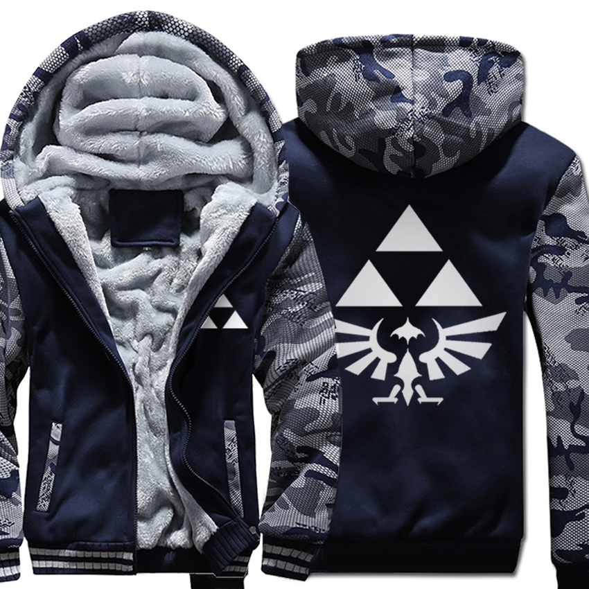 Men's Winter Thick Cartoon Anime Jacket The Legend Of Zelda Men Coat Hooded Sweatshirt With Polyster Villus Lining