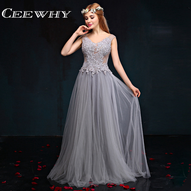 CEEWHY Open Back Grau Stickerei Abendkleid Luxus Abendkleid Prom ...