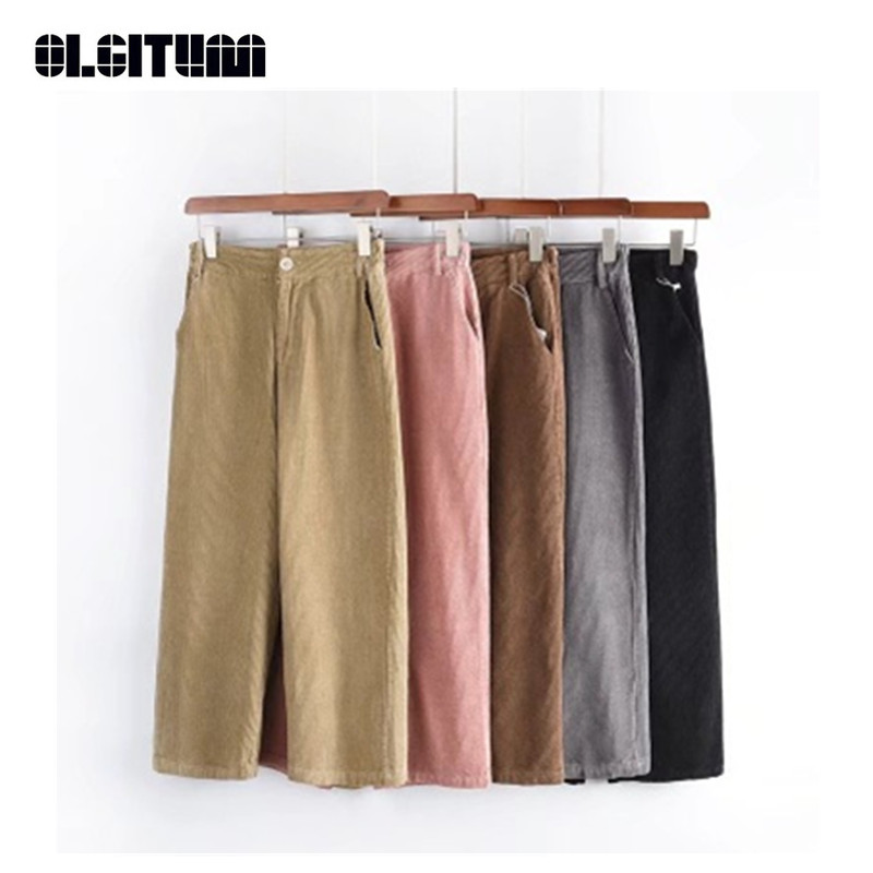 New 2018 Women   Pants   Autumn and Winter Casual Loose Corduroy   Pants   High Waist Solid   Wide     Leg     Pants   Ankle-length Trousers
