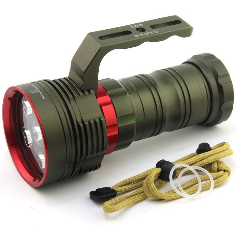 2016 New Bright 10000 Lumens Sous L'eau 200 Mètres Plongée Lampe De Poche 6x XM-L2 lumière LED Lampe Torche De Plongée lanterne par 4x18650