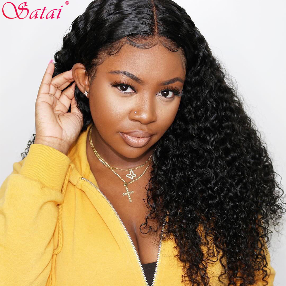 Satai Brazilian Water Wave Lace Front Human Hair Wigs Remy Hair Water Wave Wig Pre Plucked