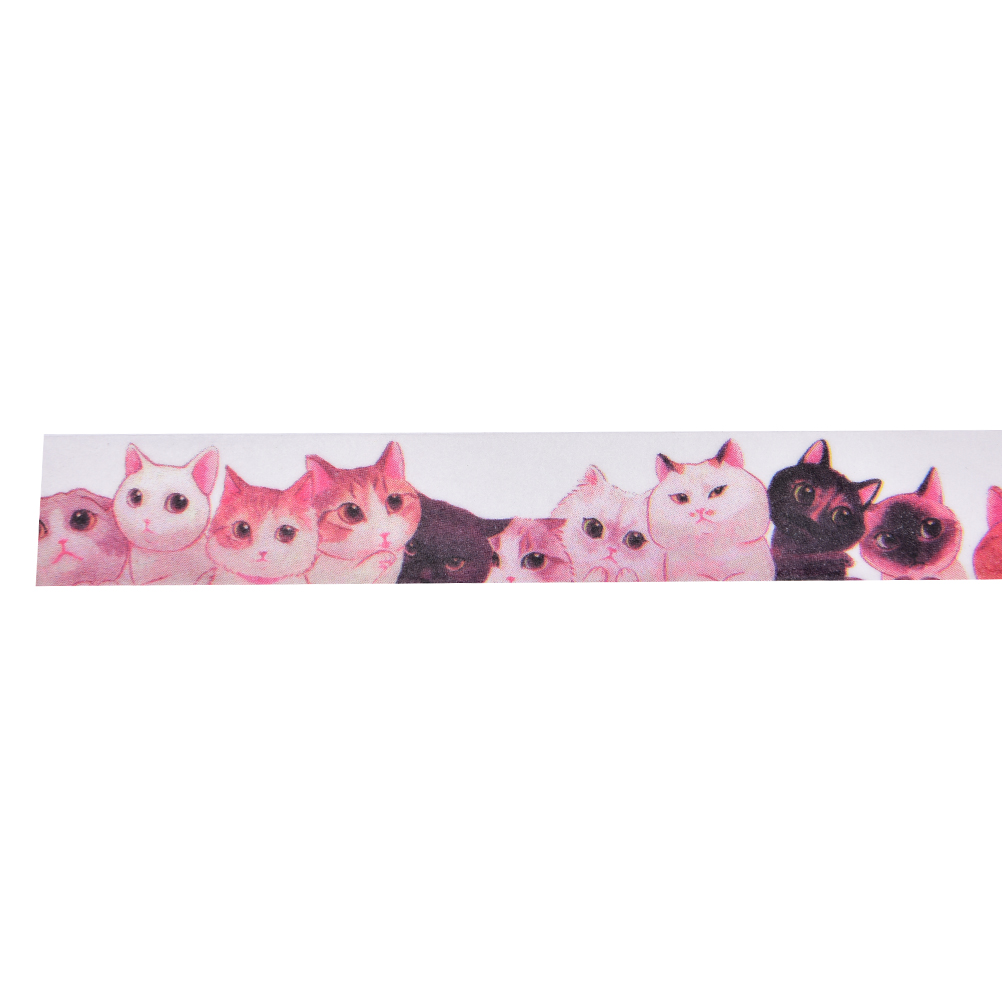 Autumn520 stationery Store 1Pcs Washi Tape Packed With Paper Tape Onlookers Cats May Tear Tape 15mm * 10m Masking Tape Material Escolar Diy Photo Album