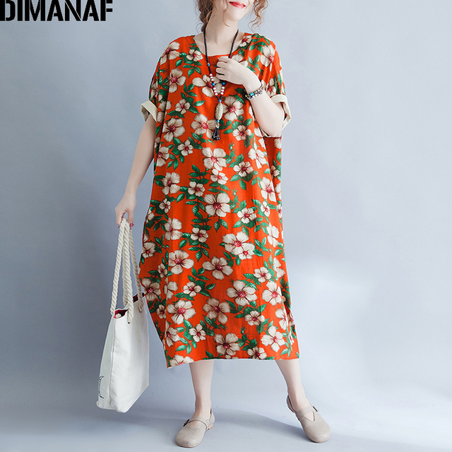 599f84b93ed DIMANAF Women Summer Plus Dress Floral Linen Prairie Chic Batwing Sleeve Big  Size 2018 Female Vestidos