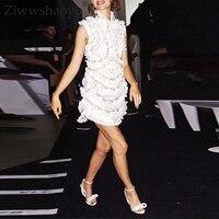 Ziwwshaoyu Sexy Solid Mini dresses 100% Linen Turtleneck Ruffles Beading Vacation Party dress 2019 summer runway new women