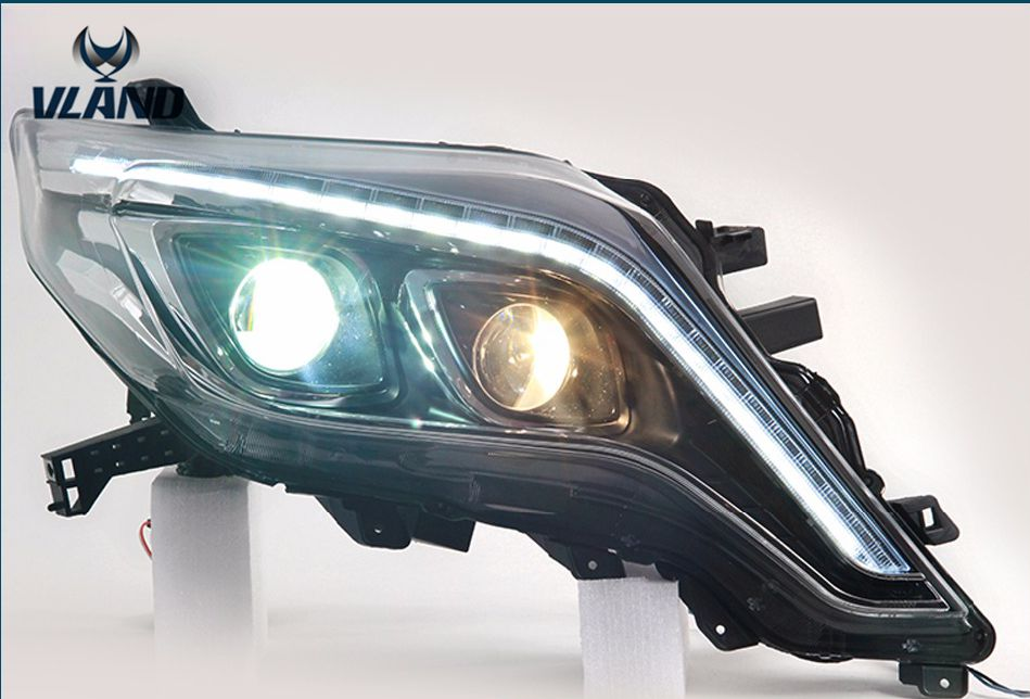 Free shipping for vland car head lamp for prado 2014-2016 land cruiser prado headlight led daytime ru