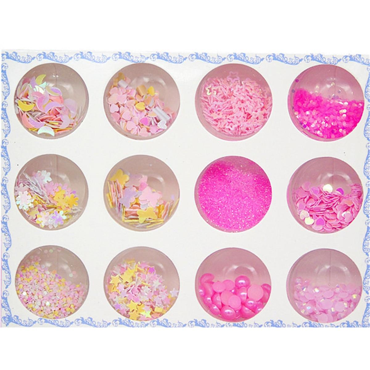 Красота 12 цветов сверкающие Блестящие Блестки для нейл Арта