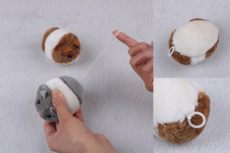 1 Stück Baby Mini Plüsch Ziehen Linie Vibrieren Wenig Fett Ratte Simulierte Plüsch Katze Spielzeug Vibration Maus Interaktive Katze Spielzeug Für Kinder