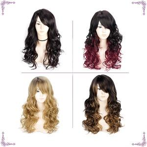 Image 3 - ロング波状赤黒髪ミックスカラー女性ウィッグ耐熱合成かつら女性のための前髪とアフリカ系アメリカ人髪