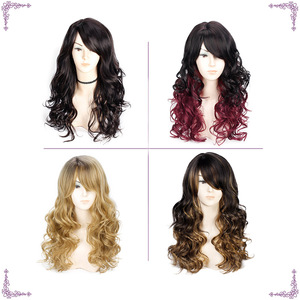 Image 3 - Long Wavy Red Black Hair Mix Color Women Wigs Heat Resistant Synthetic wigs with bangs for Women African American Natural Hair
