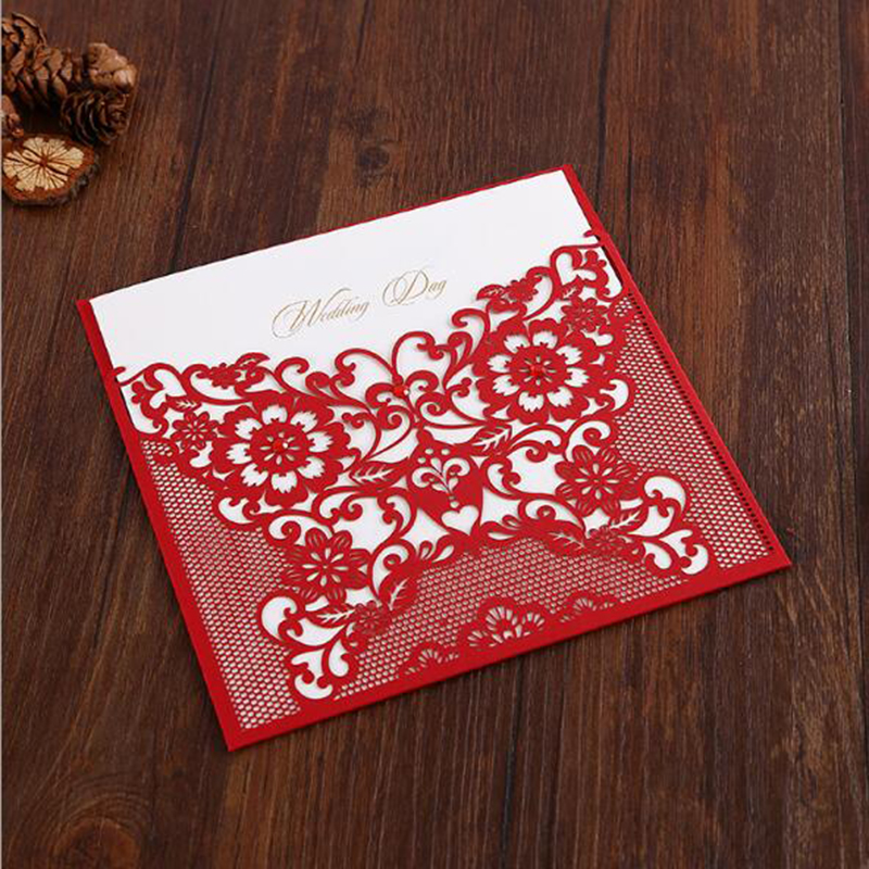 1pcs Red Laser Cut Wedding Invitations Card Hollow Butterfly