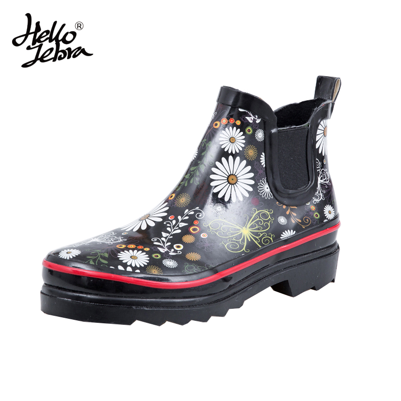 Women Short Floral Rain Boots Printing Flower Ladies Low Hoof Heels Ankle Waterproof Round Toe Rainboots 2016 New Fashion Design women tall rain boots ladies low hoof heels waterproof graffiti buckle high nubuck round toe rainboots 2016 new fashion design