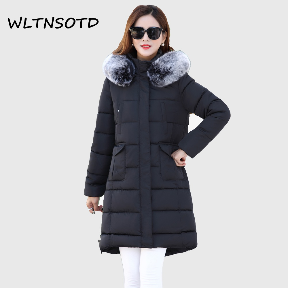 2017 Limited Full New Winter Cotton Coat Women's Long Slim Thick Big Pocket Parkas Female Fashion Hooded Fur Collar Jacket akslxdmmd thick casual winter jacket women 2017 new parkas colorful fur hooded big pocket fashion cotton long coat female lh1219