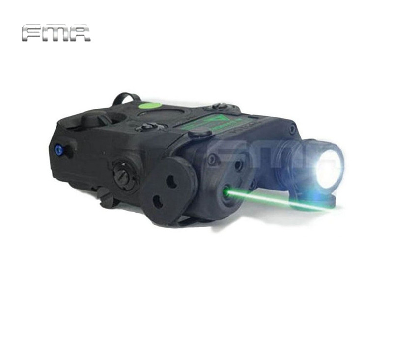 FMA Tactical AN/PEQ-15 Green Dot Laser with White LED Flashlight & IR illuminator for AEG GBB CQB Hunting Gun Light Accessory sinairsoft tactical peq 15 red laser with white led flashlight torch ir illuminator for airsoft hunting outdoor