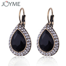 2017 Fashion Vintage boucle d'oreille Resin Crystals Ancient Gold Earrings Jewelry For Women Mystery Bohemian Top Black Earrings