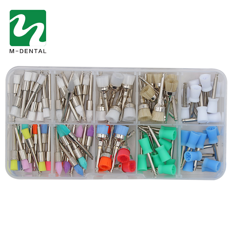 100pcs/bag Dental Polishing Brush Polisher Prophy Rubber Cup Latch Colorful Nylon Bristles Mix Style Dentist Tool Lab Material