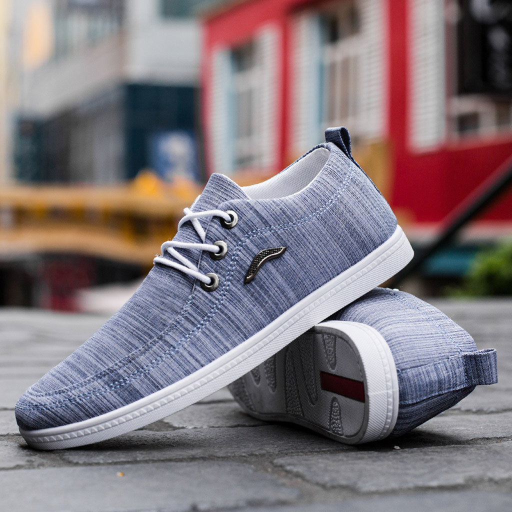 Lazy Shoes Outdoor Canvas Casual Breathable Sneakers,2019 New Men Lace-Up Shoes