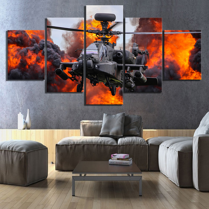 5 Piece HD Picture Combat Helicopter Military Poster Pictures Canvas Art Decorative Paintings Wall Art for Home Decor 1