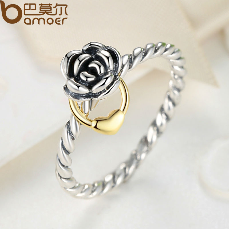 Silver Color Finger Ring with Heart Charm for Women Wedding Luxury Jewelry  PA7207