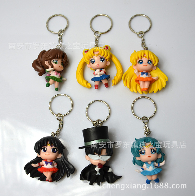 2015 <font><b>JP</b></font> <font><b>Anime</b></font> <font><b>Sailor</b></font> <font><b>Moon</b></font> 1.5 <font><b>Keychain</b></font> <font><b>keyring</b></font> <font><b>Action</b></font> figures toy 6 pcs set accessories C057