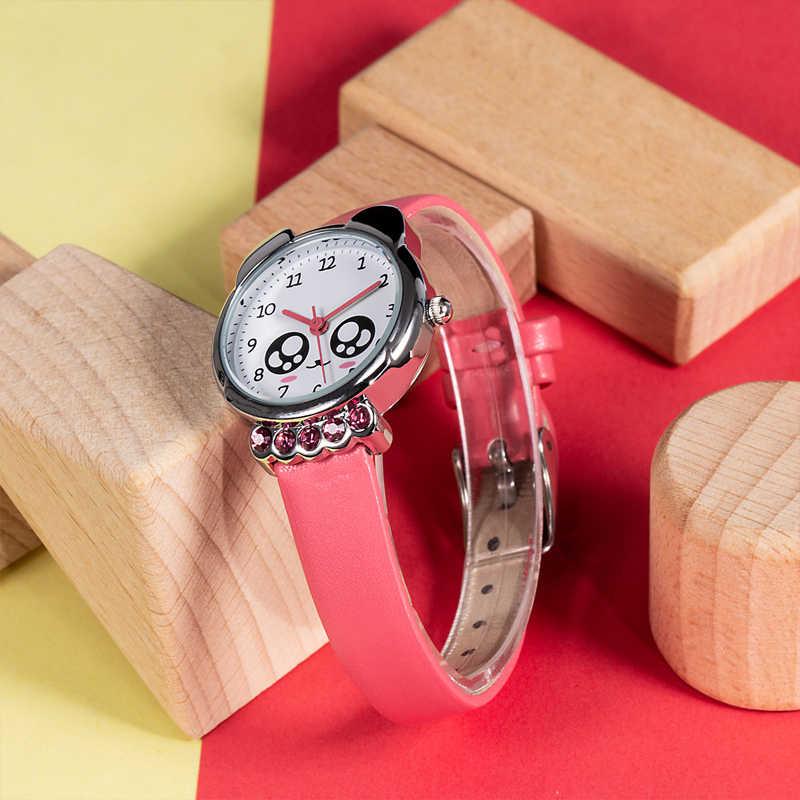 KDM ילדה שעון ילדים חמוד שועל בלינג יהלומים עמיד למים אמיתי עור שעונים יפה קיד ילדי שעוני יד סטודנטים שעון