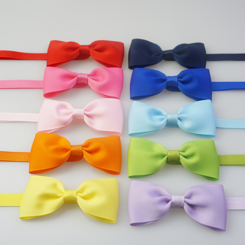 Handmade Solid Pattern Dog Bow Ties Cute Ribbon Small Large Dog Ties For Collar Pet Cat Grooming Accessories 10 Colors